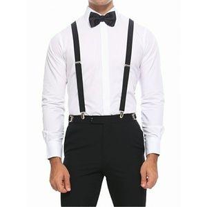 Black Stretchy Elastic Suspenders Mens Unisex Clip